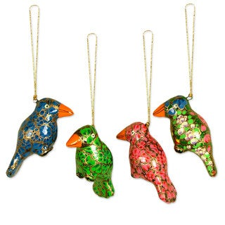 Set of 4 Handcrafted Paper Mache 'Festive Songbirds' Ornaments (India)