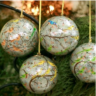 Set of 4 Handcrafted Paper Mache 'Holiday Heralds' Ornaments (India)