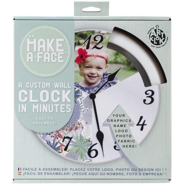 "Make A Face 10"" Clock Kit-White W/Clear Lense"