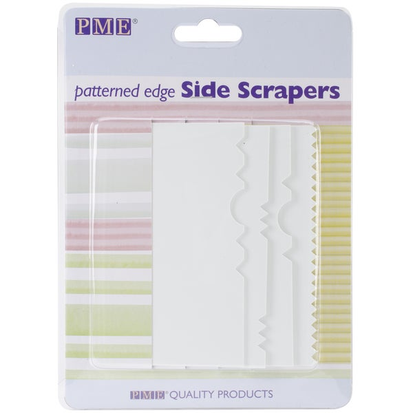Patterned Edge Plastic Side Scraper Set 4pc