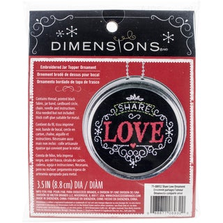 "Share Love Ornament Stamped Embroidery Kit-3.5"" Diameter"