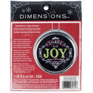 "Share Joy Ornament Stamped Embroidery Kit-3.5"" Diameter"
