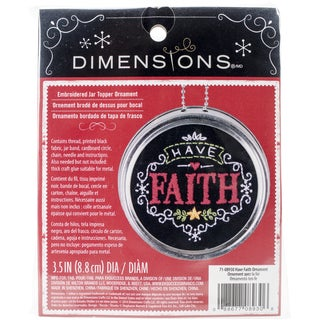 "Have Faith Ornament Stamped Embroidery Kit-3.5"" Diameter"