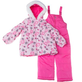 London Fog 4-6X Girl Snowsuit with Patterned Puffer Jacket Set