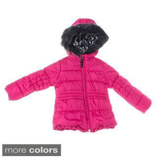 London Fog 4-6X Girl Solid Heavyweight Fur Hooded Jacket