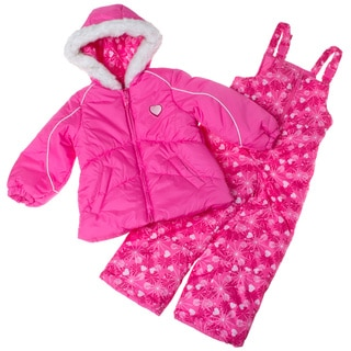 London Fog 4-6X Girl Patterned Snowsuit with Jacket Set