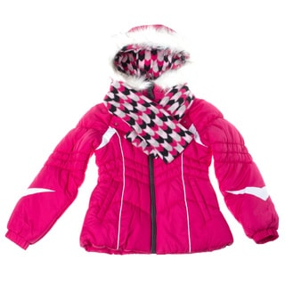 London Fog 7-16 Girl Color Block Hooded Scarf Jacket Combo