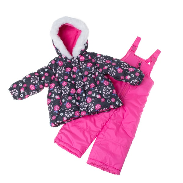 London Fog Toddler Girl's Snowsuit with Patterned Puffer Jacket Set