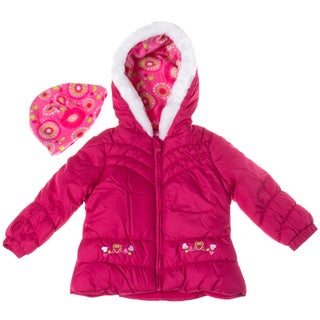 London Fog Toddler Girl Solid Puffer with Fur Hood