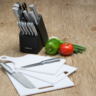 Farberware 15-piece Stamped Stainless Steel Cutlery Set with Bonus Cutting Boards
