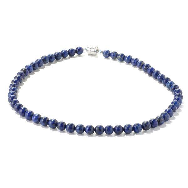 Sterling Silver Blue Lapis Bead Necklace