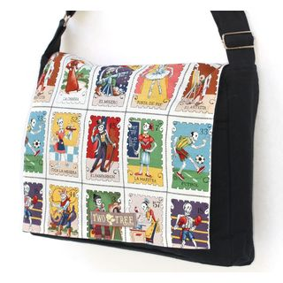 Handmade Medium Black Loteria Stamp Messenger Bag