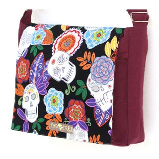 Handmade Medium Burgundy Day of the Dead Sugar Skull Messenger Bag