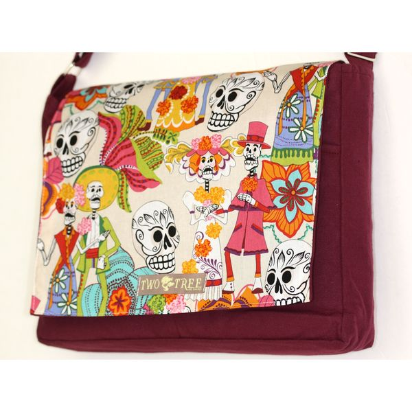 Handmade Medium Burgundy Day of the Dead White Fiesta Messenger Bag