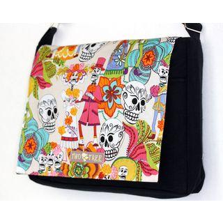 Handmade Medium Black Day of the Dead White Fiesta Messenger Bag