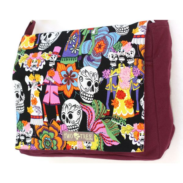 Handmade Medium Burgundy Day of the Dead Black Fiesta Messenger Bag