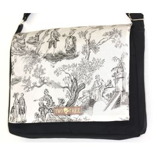 Handmade Medium Black Day of the Dead Toile Messenger Bag