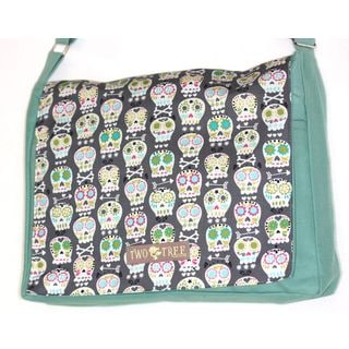 Handmade Medium Mint Day of the Dead Mini Sugar Skulls Messenger Bag