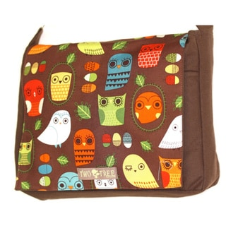 Handmade Medium Brown Mint Owl Messenger Bag