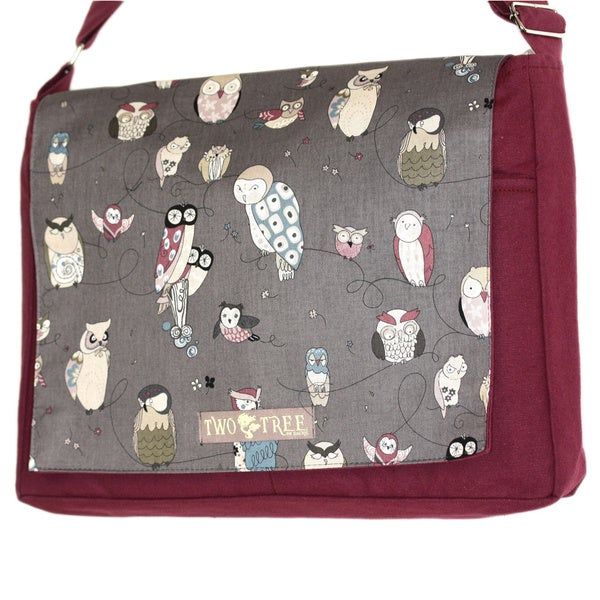 Handmade Medium Burgundy Hoot Owl Messenger Bag