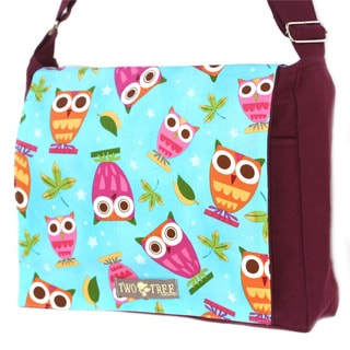 Handmade Medium Burgundy Owls on a Whim Messenger Bag