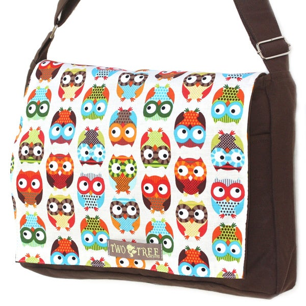 Handmade Medium Brown Cute Owls Messenger Bag