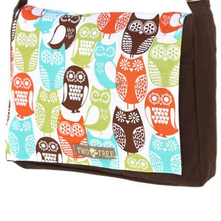 Handmade Medium Brown Swedish Owls Messenger Bag