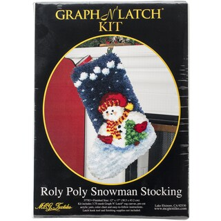 "Latch Hook Kit 12""X17""-Roly Poly Snowman Stocking"