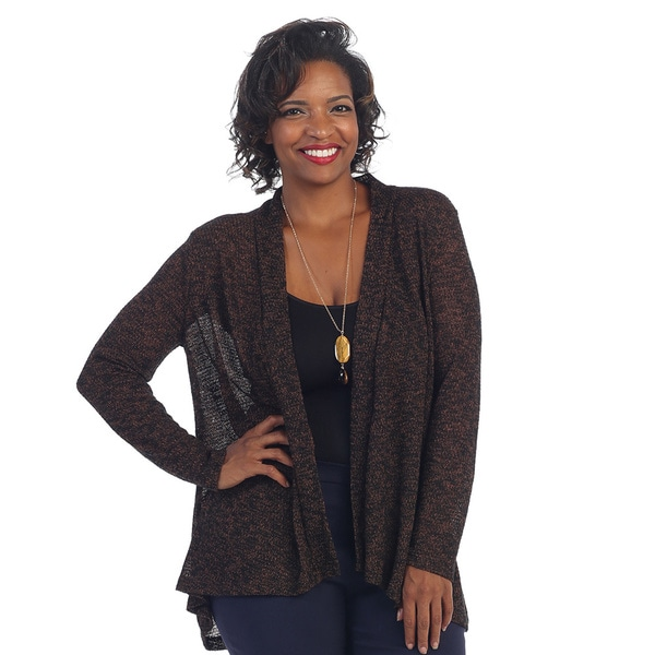 Hadari Women's Plus Knitted Open Front Cardigan