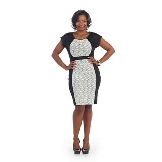 Hadari Women's Plus Short-sleeve Lace Panel Sheath Dress
