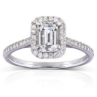 Annello 14k Gold Emerald-cut Moissanite and 1/3 ct TDW Diamond Engagement Ring (G-H, I1-I2)