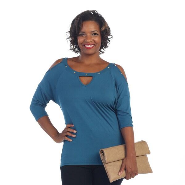 Hadari Women's Plus 3/4-length Sleeve Studded Scoop Neck Blouse