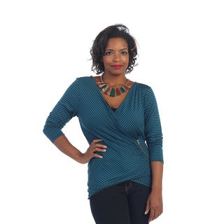 Hadari Women's Plus Long-sleeve V-neck Wrap Top