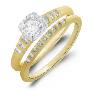 Bridal Symphony 10k Yellow Gold 1/4ct TDW Bridal Ring Set (I-J, I1-I2)