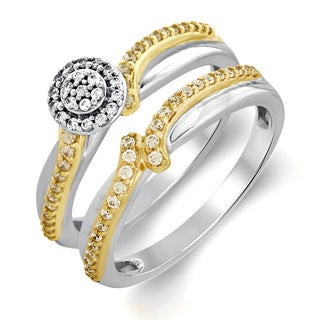 Bridal Symphony 10k Yellow Gold Sterling Silver 2/5ct TDW Diamond Bridal Ring Set (I-J, I2-I3)