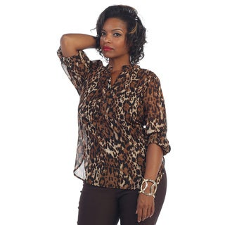 Hadari Women's Plus Leopard V-neck Blouse