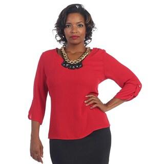 Hadari Women's Plus Red 3/4-length Sleeve Scoop Neck Blouse