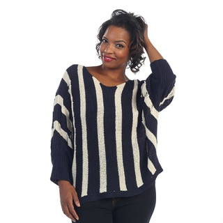 Hadari Women's Plus Striped Knitted Sweater
