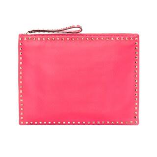 Valentino 'Rockstud' Hot Pink Leather Big Clutch