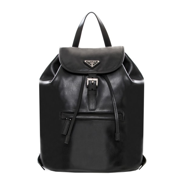 Prada Black Soft Leather Backpack - 16724494 - Overstock.com ...
