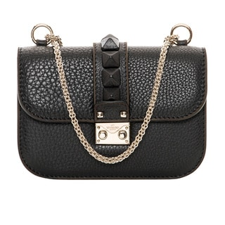 Valentino 'Vitello St Alce' Black Leather Mini Shoulder Bag