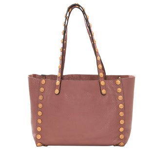 Valentino Small Mauve Leather Gryphon-Stud Tote