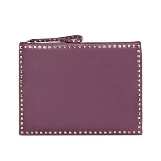 Valentino 'Rockstud' Aubergine Leather Big Clutch