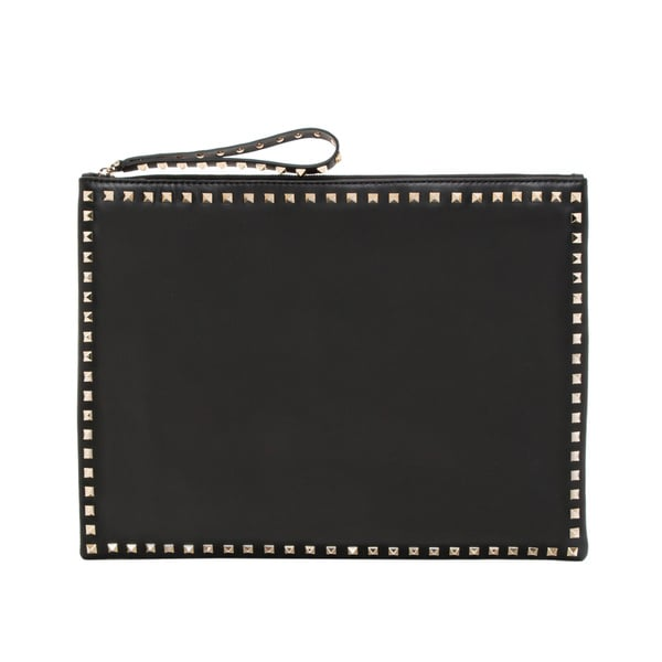 Valentino 'Rockstud' Black Leather Big Clutch