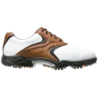 FootJoy Men's Contour Series Traditional White Smooth-Taupe-Black Golf Shoes