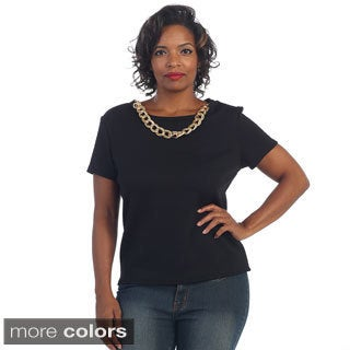 Hadari Women's Plus Short-sleeve Single Chained Blouse