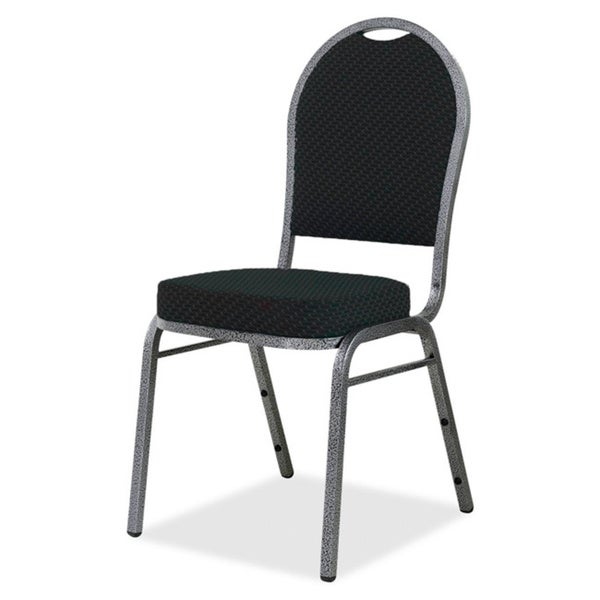 Lorell Green Upholstered Textured Fabric Stacking Chair