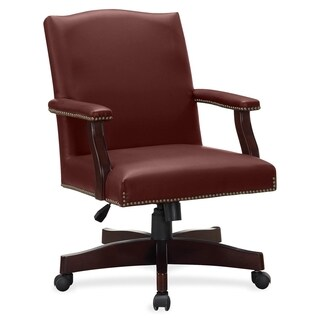Lorell Traditional Executive Bonded Leather Chair - burgundy