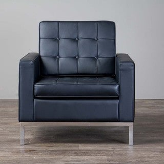 Baxton Studio Connoisseur Black Upholstered Modern Club Chair