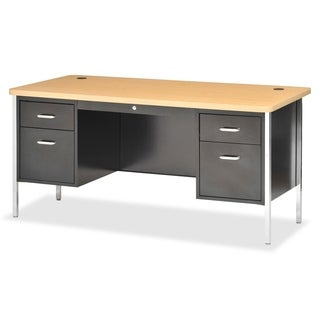 Lorell Fortress Series Double Ped Teacher's Desk